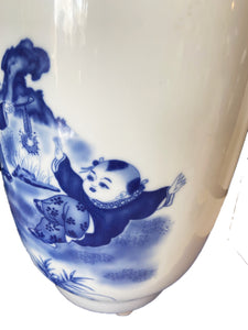 "Porcelain Blue & White Chinoiserie Vase 17.75"" H"