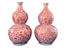 "Load image into Gallery viewer, #3165 Coral and White Chinoiserie Dragon Double Gourd Vases Pair 25"" H"