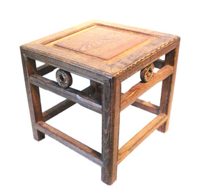 "Chinoiserie Jichimu Chicken Wood Low Table / Stool 11"" H by 11"" W"