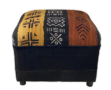 "Load image into Gallery viewer, Square Malian Mud Cloth Bogolan Textile Ottoman 15"" H by 18.5"" W  #3326"