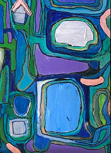 "Acrylic on Canvas Framed Abstract 21.75""By 17.75 "" Framed Signed Yjr $1,200"