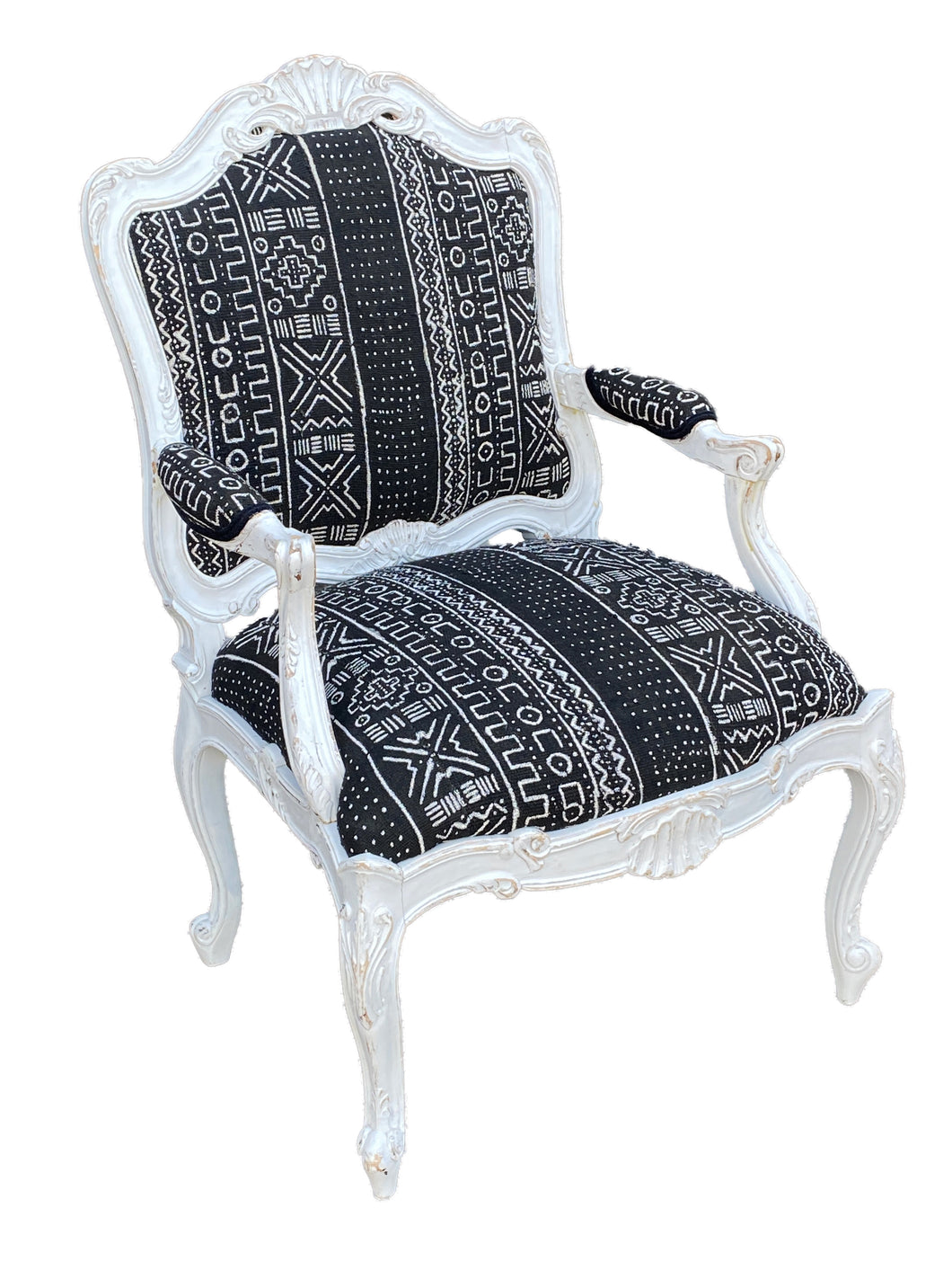 French Style Chair With Black & White Mud Cloth