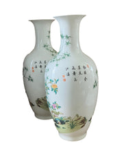Load image into Gallery viewer, #3160 Chinoiserie Porcelain Egg Shell Vases -Pair