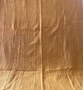 "African Plain Mustard Color Mud Cloth Textile Mali 62"" by 40"""