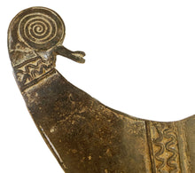 "Load image into Gallery viewer, Rare old Bwaba Burkina Faso brass/bronze  amulet pendant of a chameleon 7"" by 5"""