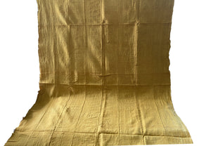 "African Plain Mustard Color Mud Cloth Textile Mali 65"" by 40"""