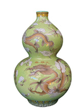 "Load image into Gallery viewer, Famille Verte Style Porcelain Dragons Vase.14"" H"