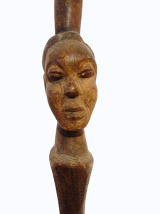 "#2191 African Old Bassa Leader Wood Stick Liberia 38.5"" H"