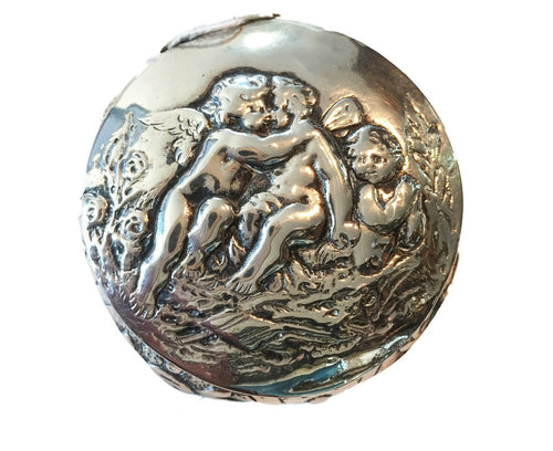 Superb German Silver Cherub  Box, C.1900