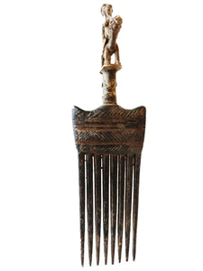 Rare African Baule I. Coast Comb with Bronze Horse Rider Sculpture