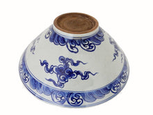 "Load image into Gallery viewer, #168 Chinese B & W Porcelain LG Bowl Dragon & flowers 17.5"" Diameter"