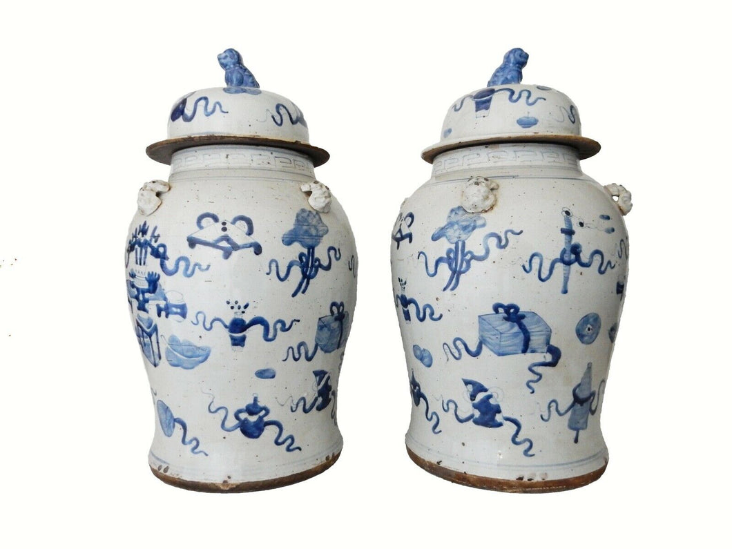 Superb Large Chinoiserie Blue & White Ginger Jars - a Pair 23