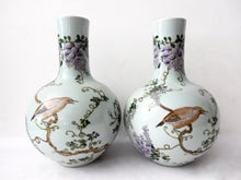 "Load image into Gallery viewer, #703 Superb Pair of Chinese Porcelain Onion Shaped Vases S/2  16.5 "" H"