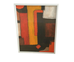 "Acrylic on Paper Framed Abstract 11.5"" by 9"""