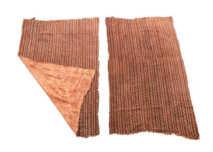 "Pair Of African Bogolan Textile Brown and white Mud Cloth  64"" by 41"""