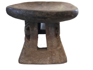 "Superb African Bamileke Low  Milk Stool Cameroon 14."" w by 9.25"" h"