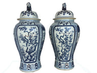 Mansion Size Chinoiserie B & W Porcelain Ginger Jars - a Pair 35.5