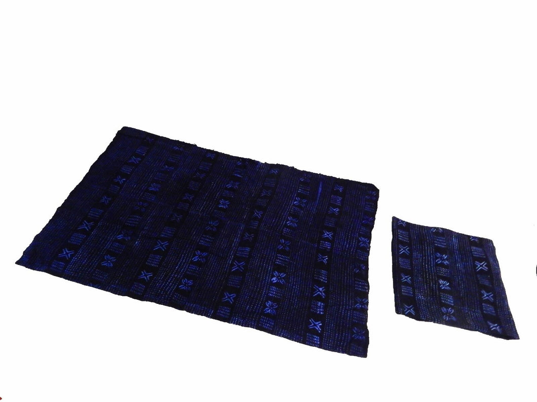 Malian Indigo Mud Cloth Textiles S/2 44