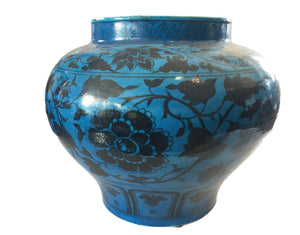 "Superb Chinese Yuan Style  Vase W/Peonies  Flowers 12"" H"
