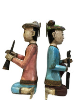 "Load image into Gallery viewer, Old Burmese Wood Carved Musician Figures S/2 15"" H"