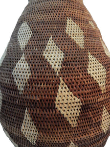 "Large Vintage Botswana Handmade  African Basket Primitives Folk Art 14.5""h"