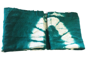 "African Emerald Green & White Mud Cloth Textile Mali 45"" by 63"" # 575"