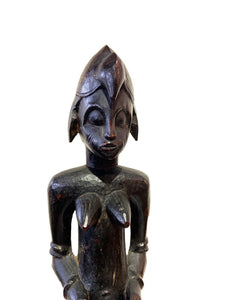 "Tanzanian Mid Century Ebony Wood Sculpture of a Seated Female 15.5"" H"