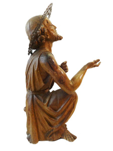 "LG Museum Quality European Hand Carved Wood 18th C Santos ST Geronimo 26"" H"