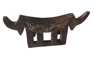 "#1939 Superb Dinka Headrest W/ Metal Studs South Sudan African 15"" W"