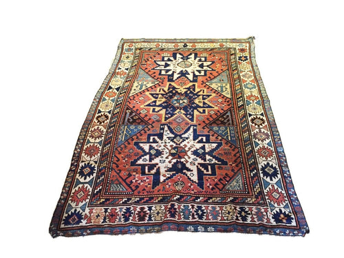 Superb & Rare 19th C Antique Tribal Caucasian  Star Kazak Rug  7' 10