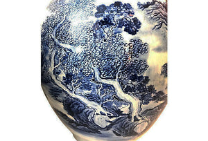 "#2338 Superb LG H. Painted B & W Chinoiserie Ginger Jars 16.75"" H"