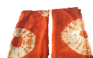 "African Bogolan Textile Mud Cloth Orange & White 40"" by 60"" Set of two"