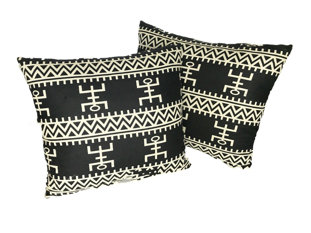 African Custom Made Black and White Kente Cloth Pillows S/2