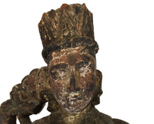 "Load image into Gallery viewer, #1009 LG Rare Museum Quality  19th c Indonesian Crowned Angel 34"" H"