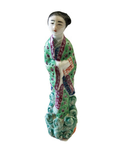 "Antique Chinese Republic Period Porcelain Figurine of an Immortal 6"" H"