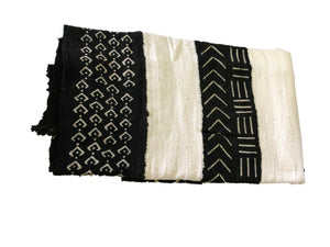 "African  Black and White Mud Cloth Textile Mali 40"" by 60"" #294"