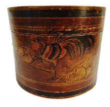 "Load image into Gallery viewer, #3404 Superb Old Chinese Hand Painted Round Box W/Rooster 8.75"" D"