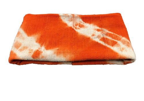 African Bogolan Textile Mud Cloth Orange & White 44