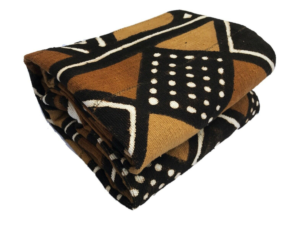 African LG Brown/Mustard/Black/White Mud Cloth/ Blanket  Mali 62