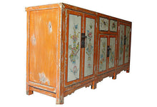 Load image into Gallery viewer, #2155 Superb Mongolian hand painted Elm Cabinet W/ Six Doors