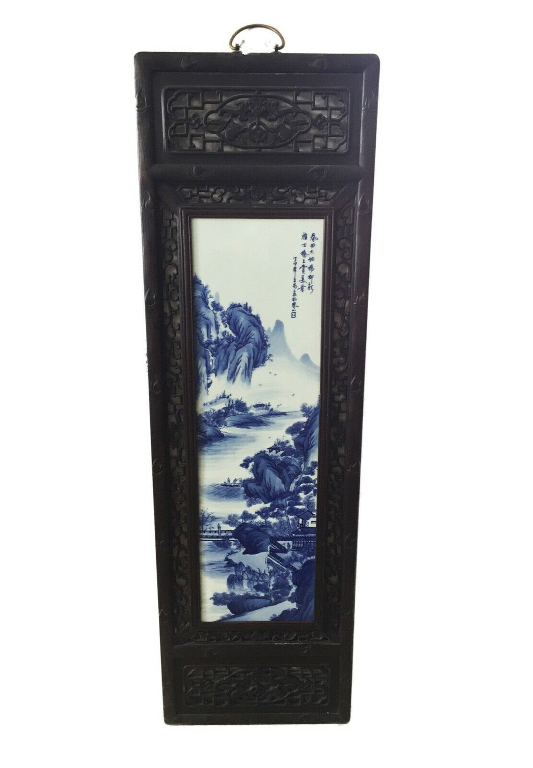 Superb LG Chinese  Blue and White Porcelain Wood Panel 47