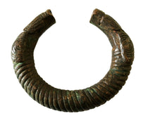 "Load image into Gallery viewer, Old Trade Currency Bronze Bracelet Gan Burkina Faso W/Snake 3"" W"