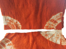 "Load image into Gallery viewer, African Bogolan Textile Mud Cloth Orange & White 40"" by 60"" Set of two"