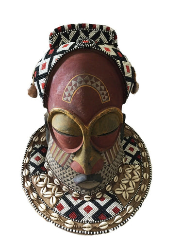 Stunning  Kuba Royal Head Mask  Congo Africa 13
