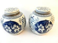 "Load image into Gallery viewer, Chinese Blue and White Porcelain Ginger Jars w/ Hundred Boys, S/2   9"" H"