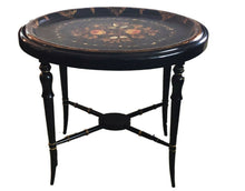 Load image into Gallery viewer, 19th Papier Mâché Hand Painted Oval Tray Table W/ Mother of Pearl Inlay 22.5' H