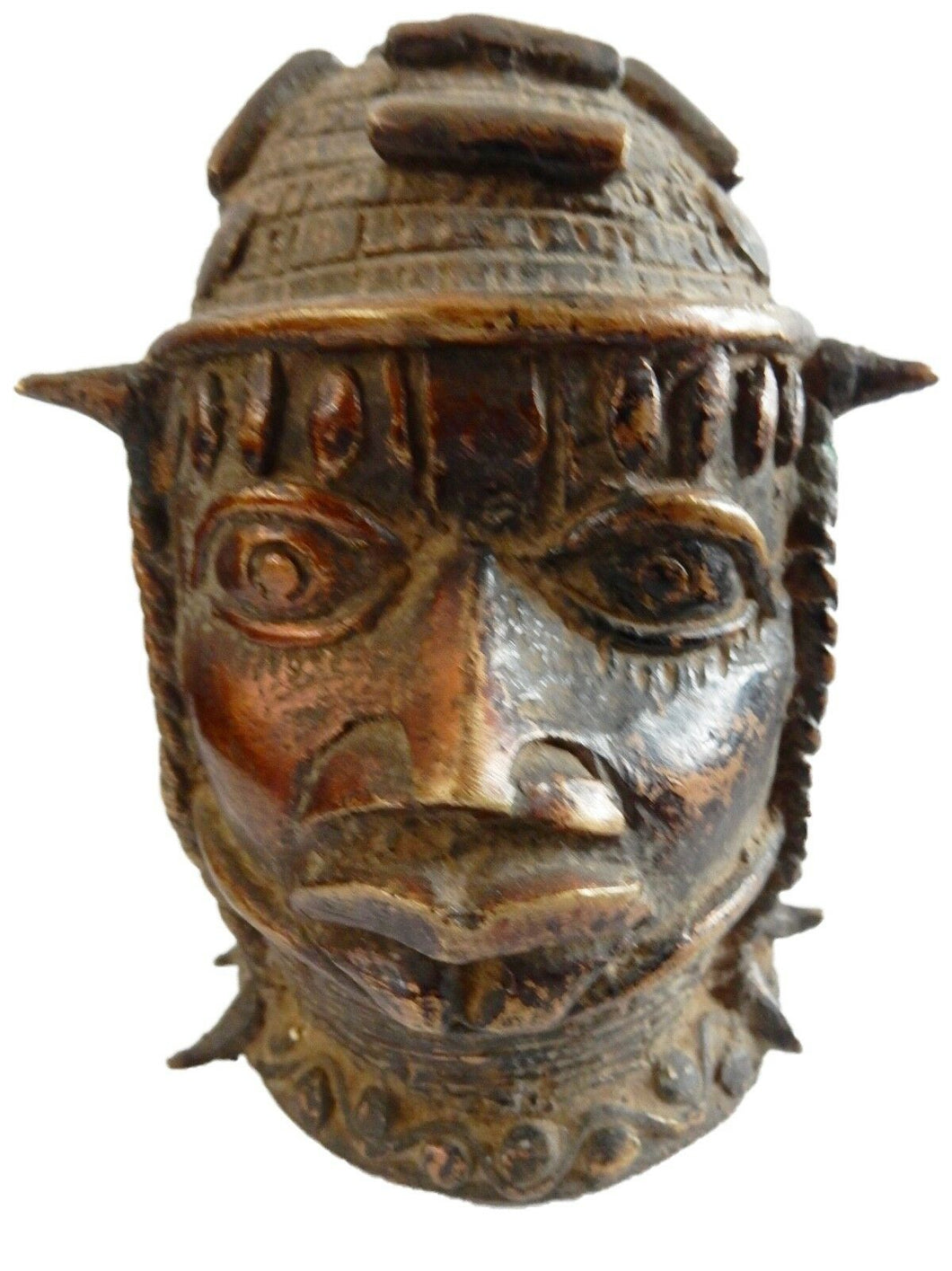 Stunning Old  Benin Bronze Brass Head of Oba Nigeria African 4.5