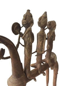 "Superb LG African Dogon Bronze Horse W/Companions 21.5"" H by 18""W"