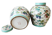 "Load image into Gallery viewer, Superb Chinese Porcelain  Famille Rose Ginger Jars pair 11"" H"