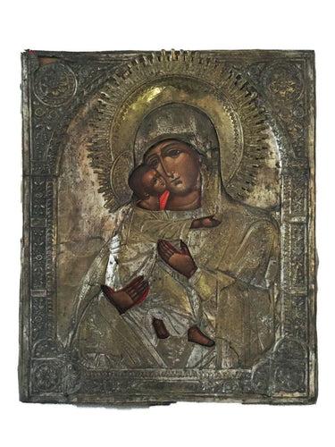 OLD RUSSIAN ICON OF MOTHER OF GOD HOLDING JESUS 17